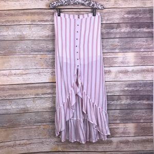 American Eagle Outfitters striped maxi slit skirt